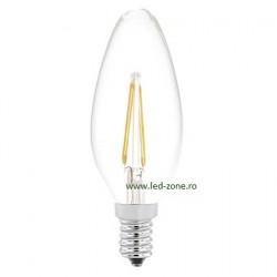 Bec LED E14 2W Filament Lumanare Clar
