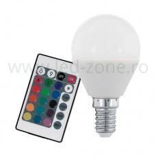 Bec LED E14 4W Glob Mat RGB Telecomanda