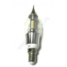 Bec LED E14 4W Flacara Clar Argintiu