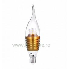 Bec LED E14 5W Flacara Clar Auriu SMD2835