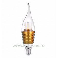 Bec LED E14 7W Flacara Clar Auriu SMD2835