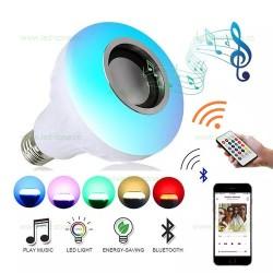 Bec LED E27 12W RGB Muzical Bluetooth Telecomanda