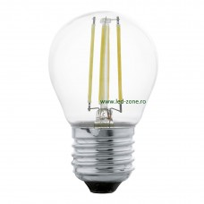 Bec LED E27 4W Filament Glob Clar G45