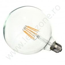 Bec LED E27 6W Filament Glob Clar G125