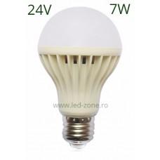 Bec LED E27 7W Glob Mat Plastic 24V