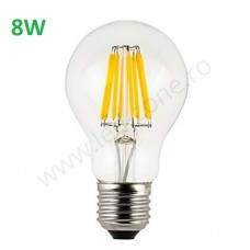 Bec LED E27 8W Filament Glob Clar A60