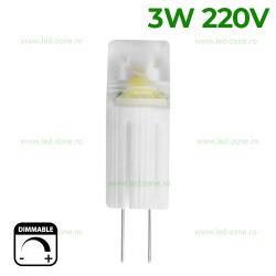 Bec LED G4 3W Corn Ceramica Clar 220V Dimabil