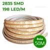 Banda LED 2835 198 SMD/ML Furtun Silicon 220V Rola 50m