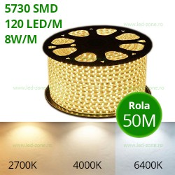 Banda LED 5730 120 SMD/ML 220V Rola 50m