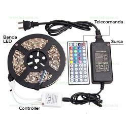Kit Banda LED 5050 Rola 5ml RGB Silicon, Telecomanda 44 Taste