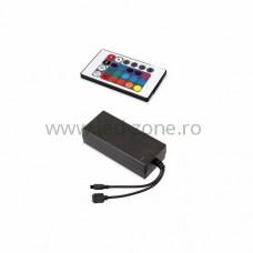 Controller Banda LED RGB 5A 60W IR cu Sursa Alimentare