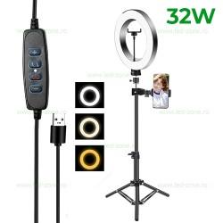 Lampa Circulara LED 32W cu Trepied Selfie