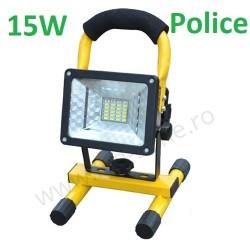 Proiector LED 15W Acumulator si Suport Police