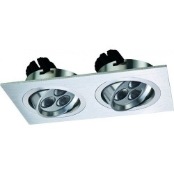 Spot LED 2x4W Dreptunghiular Mobil Argintiu