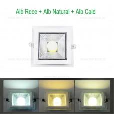 Spot LED 6W Patrat COB Sticla 3 Functii