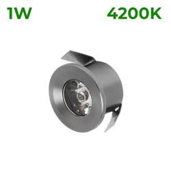 Spot LED 1W Mini Rotund Argintiu Alb Natural