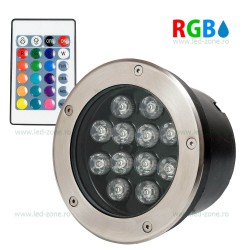 Spot LED Exterior Incastrabil 12x1W Rotund RGB Telecomanda 220V