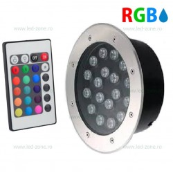 Spot LED Exterior Incastrabil 18x1W Rotund RGB Telecomanda 220V