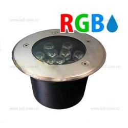 Spot LED Exterior Incastrabil 9x1W Rotund RGB 220V