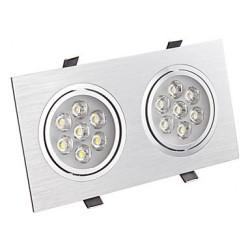Spot LED 2x7W Dreptunghiular Mobil Argintiu