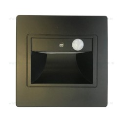 Spot LED 1W Patrat Negru Trepte Senzor