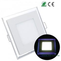 Spot LED 15W Patrat Alb Rece Contur Albastru