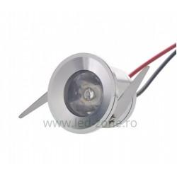 Spot LED 1W Mini Rotund Argintiu