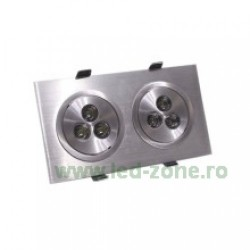 Spot LED 2x3W Dreptunghiular Mobil Argintiu