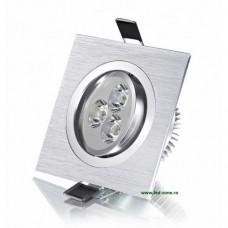 Spot LED 3x1W Patrat Mobil Argintiu