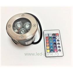 Spot LED Exterior Incastrabil 3x1W RGB Telecomanda 220V