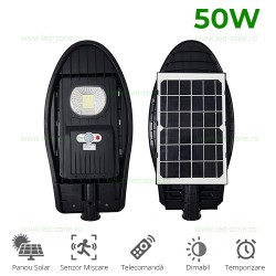 Lampa LED Iluminat Stradal 50W Solara cu Senzor Miscare si Telecomanda