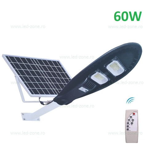 Lampa Led Iluminat Stradal 60w Smd Solara Ovala Cu Suport Si Telecomanda Led Zone Magazin Online